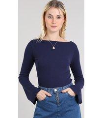 blusa feminina básica canelada decote arredondado manga longa azul marinho
