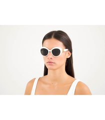 balenciaga women's bb oversized round acetate sunglasses - white/gold