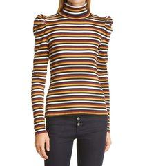 women's veronica beard cedar stripe puff sleeve stretch cotton turtleneck top, size x-small - black