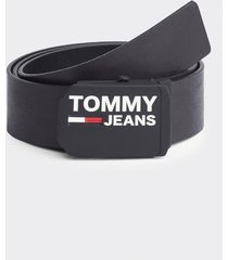 cinturón plaque leather negro tommy jeans