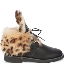 printed shearling & leather booties