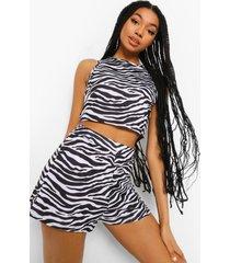 mix & match zebraprint pyjama shorts, black
