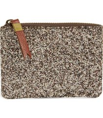 madewell the leather pouch wallet in glitter - metallic