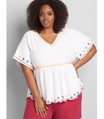 lane bryant women's embroidered babydoll top white
