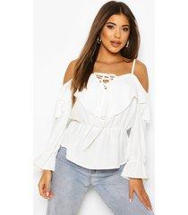 cold shoulder linen blouse, ivory