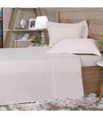 jogo de cama 300 fios queen 100% algodão pentado duna - tessi