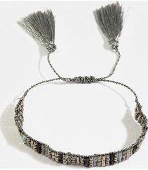 kimberly beaded tassel bracelet - hematite