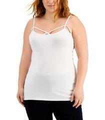 aveto trendy plus size cross-front sleeveless top