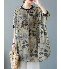 abito a camicetta taglia plus con stampa floreale vintage a maniche corte