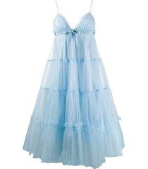 brognano tulle babydoll midi dress - blue