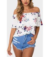 blusa con hombros descubiertos y estampado floral al azar blanco diseño