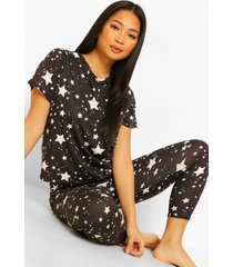 petite sterrenprint t-shirt pyjama set met leggings, black