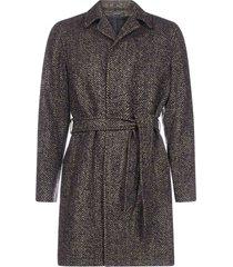 tagliatore chevron wool-blend belted coat