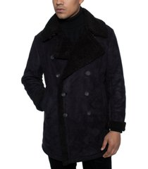 sean john men's faux shearling double breasted peacoat