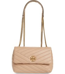 tory burch kira chevron quilted small convertible leather crossbody bag - beige