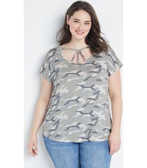 maurices plus size womens 24/7 camo strappy dolman sleeve tee green