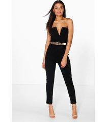 bandeau belted jumpsuit, black