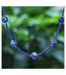 lapis lazuli beaded necklace, 'midnight blue moon' (thailand)