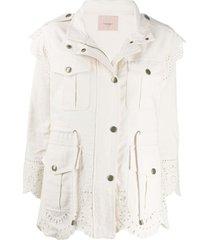 twin-set jaqueta com aplicação de crochê - neutro