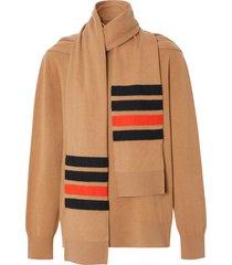 burberry striped scarf-detail jumper - neutrals