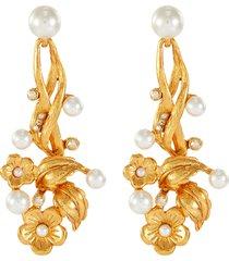 floral embellished drop earrings