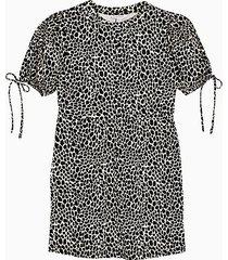 black and white animal print tea jersey mini dress - monochrome