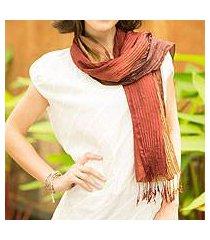 silk scarf, 'golden brown transition' (thailand)