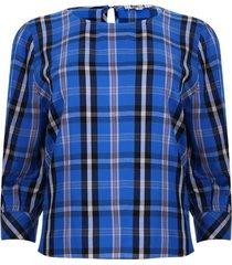 blusa cuello barco 3/4 a cuadros color azul, talla 12