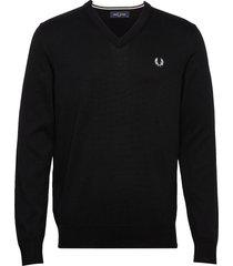 classic cott. v/n jmpr stickad tröja v-krage svart fred perry