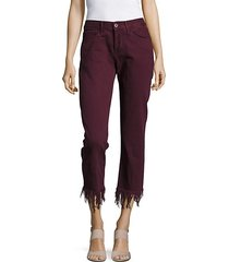 fringed-cuff cropped cotton pants