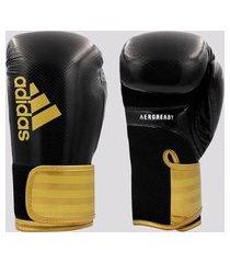 luva de boxe adidas hybrid 65 preta e dourada