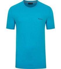 camiseta malha básica azul turquesa - kanui