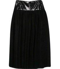 balmain black pleated skirt