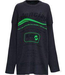 balenciaga oversize ribbed knit sweater with print