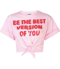 alice+olivia lera knotted t-shirt - electric pink/bright poppy