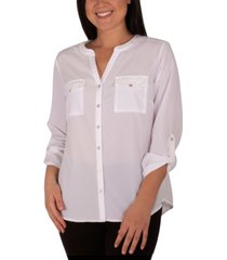 ny collection petite roll-sleeve blouse