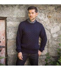 traditional men's aran sweater light navy s