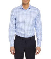 men's bugatchi trim fit stretch windowpane dress shirt