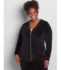 lane bryant women's livi zip-front hoodie - velour 22/24 black