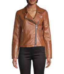bagatelle nyc women's faux leather moto jacket - cognac - size xs