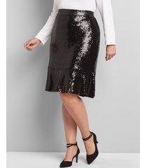 lane bryant women's sequin flounce midi skirt 26/28 black