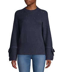 ribbed bell-sleeve crewneck sweater