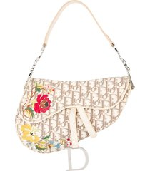 christian dior pre-owned trotter saddle embroidered handbag - neutrals