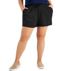 style & co plus size solid knit track shorts, created for macy's