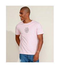 "camiseta masculina ciclos our planet needs you"" manga curta gola careca rosa claro"""