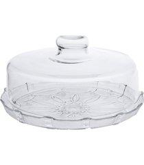 boleira de vidro com tampa - prato para bolo com tampa estilo romano - branco - dafiti