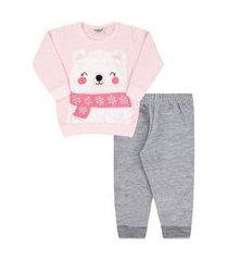 conjunto bebê feminino moletom blusa rosa ursa de cachecol e calça mescla (1/2/3) - viston - tamanho 1 - mescla,rosa