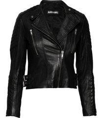 ls essentials racer jacket leren jack leren jas zwart superdry