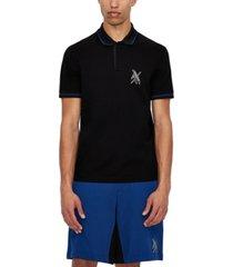 ax armani exchange men's contrast trim collar geometric logo polo shirt