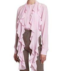 ruffle scarf silk blouse